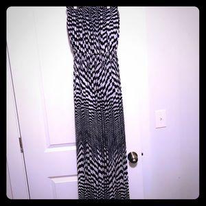 Black and white long maxi dress